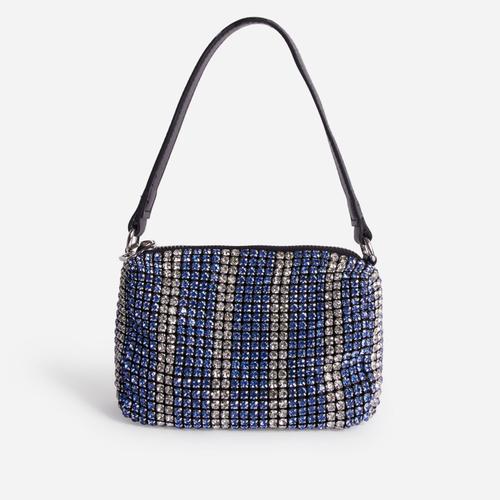 Glitterball Blue Stripe Shoulder Bag In Silver Diamante
