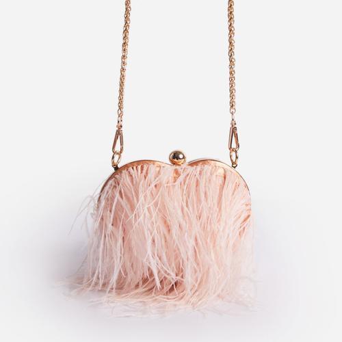 Tweedy Feather Detail Heart Shaped Grab Bag In Nude