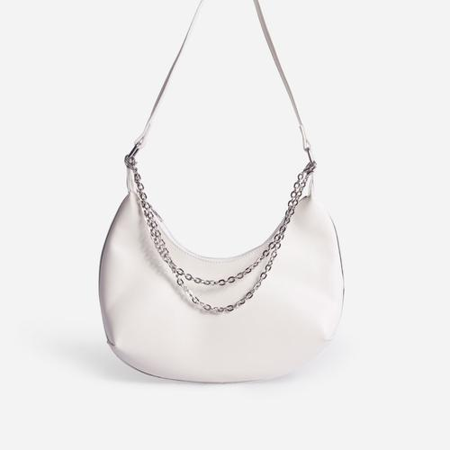 Truly Multi Chain Baguette Bag In White Faux Leather