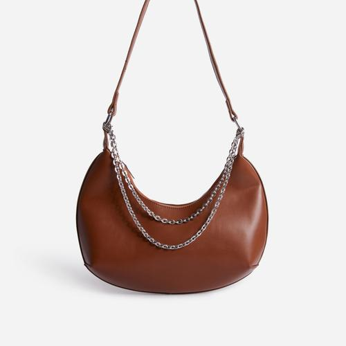 Truly Multi Chain Baguette Bag In Tan Brown Faux Leather