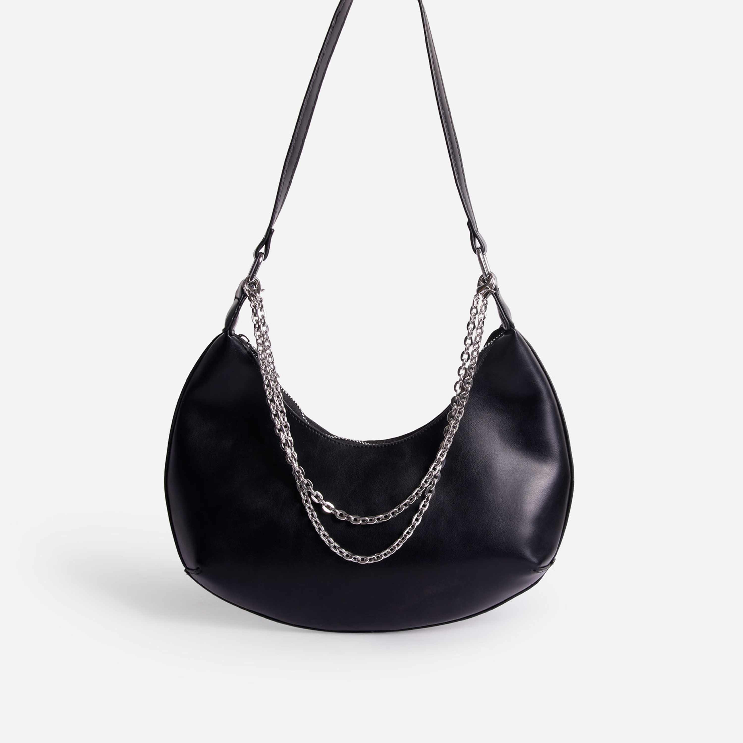 Truly Multi Chain Baguette Bag In Black Faux Leather