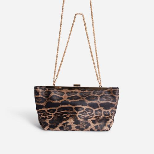 Sahara Chain Detail Cross Body Bag In Leopard Print Faux Leather