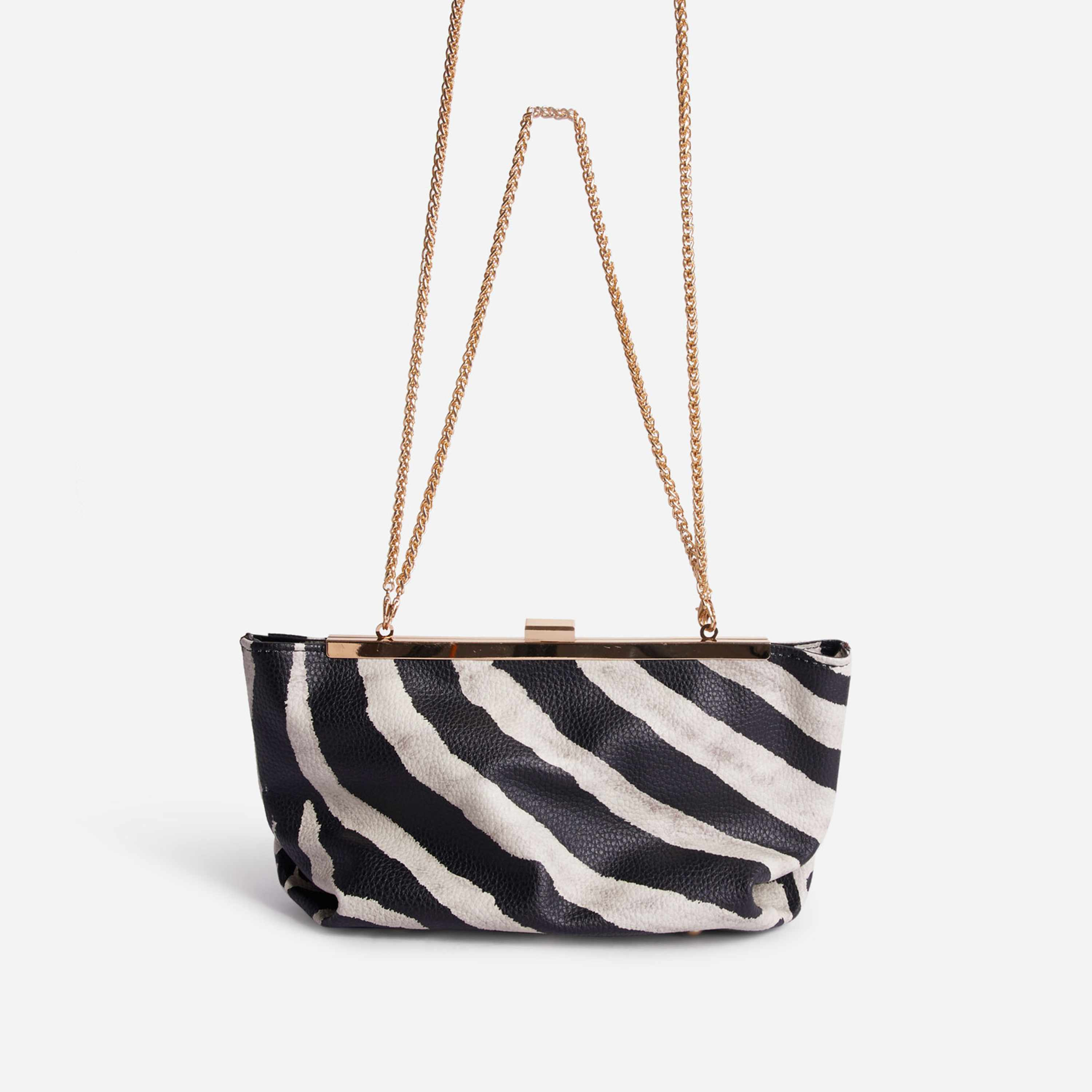 Sahara Chain Detail Cross Body Bag In Zebra Print Faux Leather