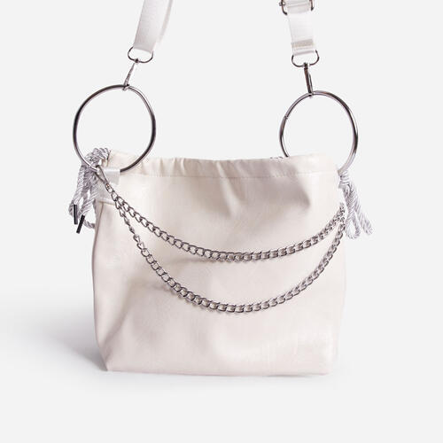 Chen Hoop And Chain Detail Bucket Bag In White Faux Leather