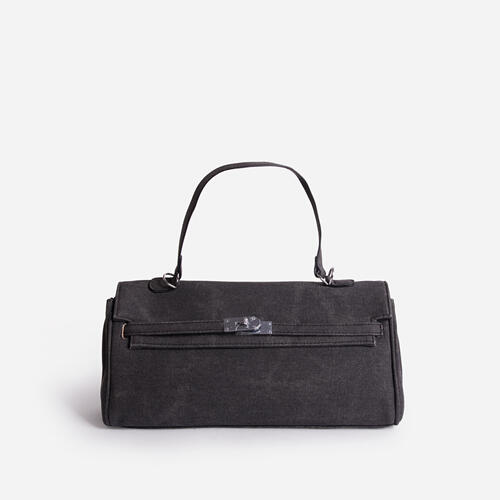 Baldwin Buckle And Chain Detail Grab Tote Bag In Black Faux Leather