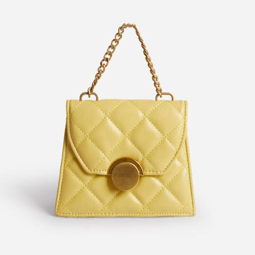Louie Quilted Mini Cross Body Bag In Yellow Faux Leather