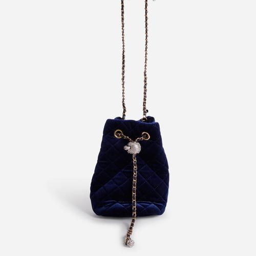 Jenner Quilted Bucket Bag In Navy Blue Velvet