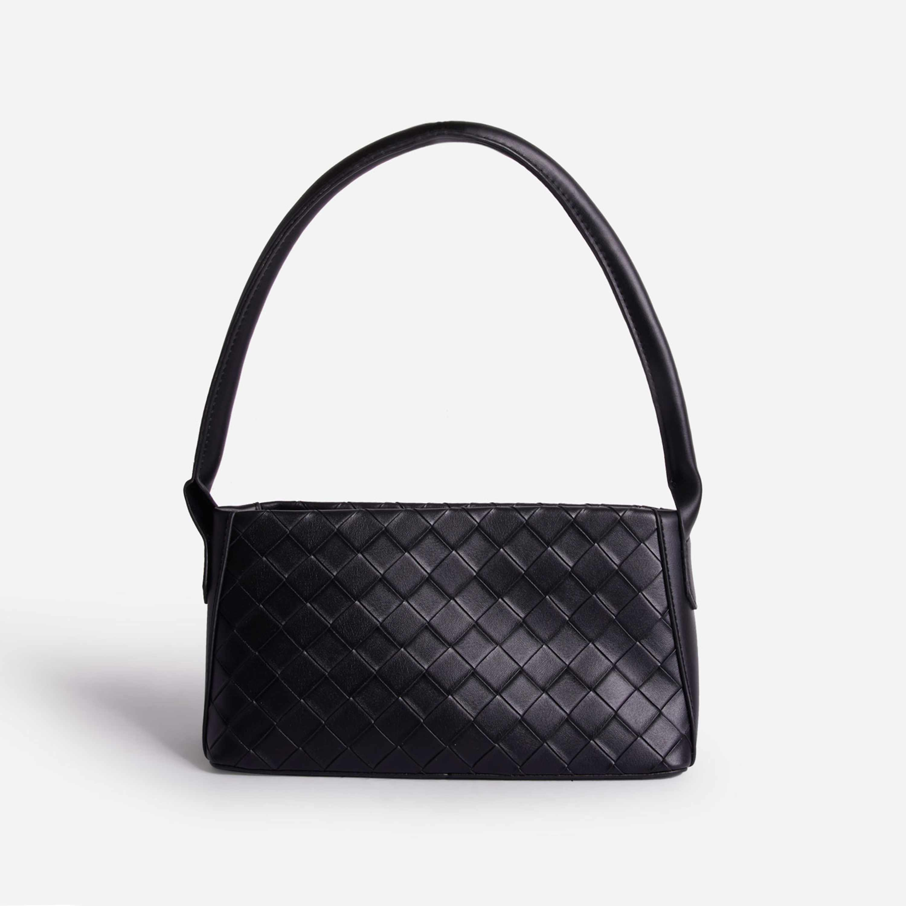 Leah Woven Shoulder Bag In Black Faux Leather