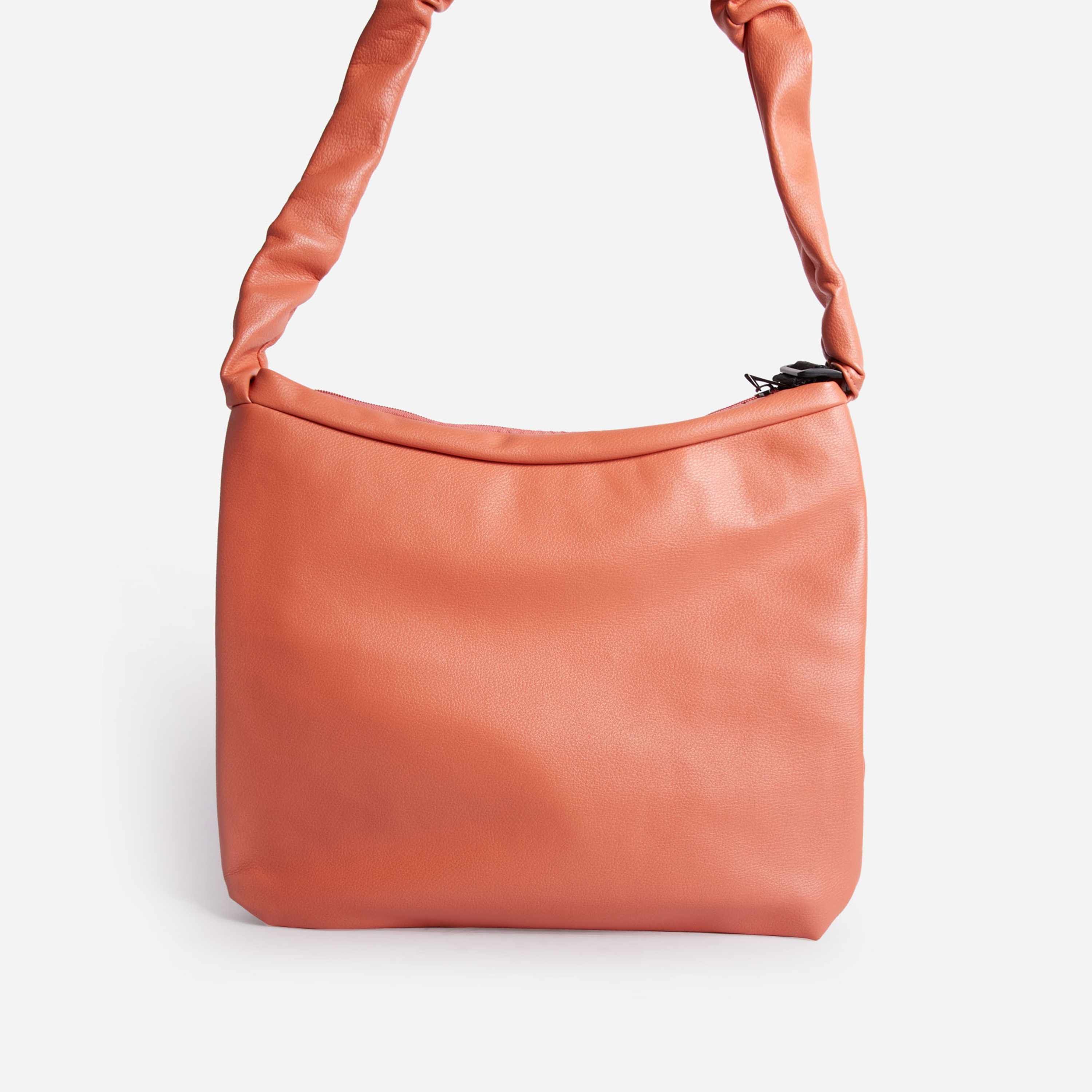 Starry Ruched Handle Shopper Bag In Orange Faux Leather