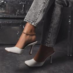 Rue Square Toe Heel Mule In White Faux Leather