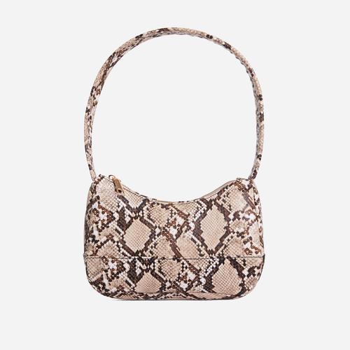Gina Baguette Shoulder Bag In Pink Snake Print Faux Leather