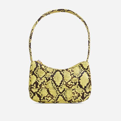 Gina Baguette Shoulder Bag In Yellow Snake Print Faux Leather