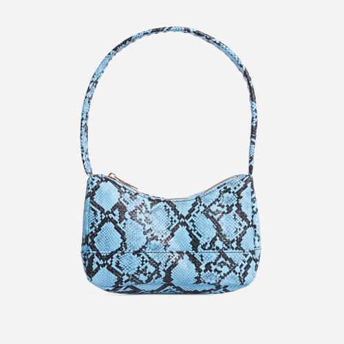 Gina Baguette Shoulder Bag In Blue Snake Print Faux Leather