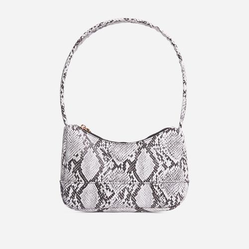 Gina Baguette Shoulder Bag In Grey Snake Print Faux Leather