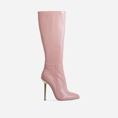 Clarity Metallic Heel Knee High Long Boots In Pink Croc Print Faux Leather
