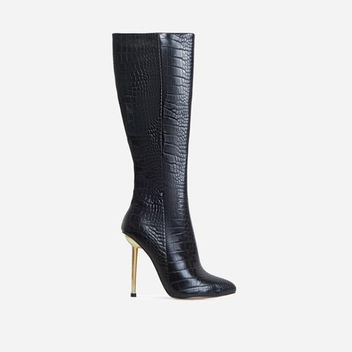 Clarity Metallic Heel Knee High Long Boots In Black Croc Print Faux Leather