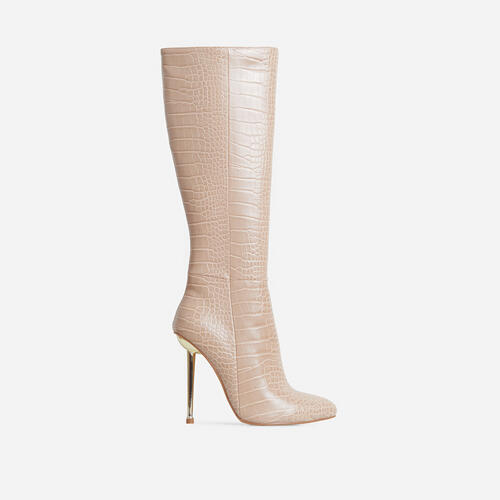 Clarity Metallic Heel Knee High Long Boots In Nude Croc Print Faux Leather