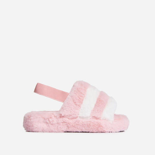 Boo Fluffy White Stripe Slipper In Pink Faux Fur
