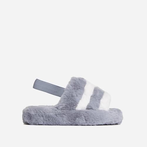 Boo Fluffy White Stripe Slipper In Grey Faux Fur