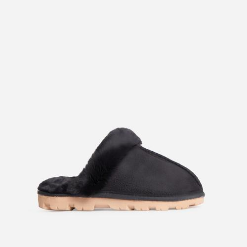 Smooch Fluffy Track Sole Slipper In Black Faux Suede