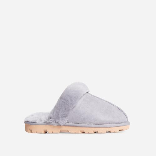 Smooch Fluffy Track Sole Slipper In Grey Faux Suede