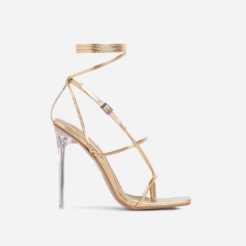 True Square Toe Lace Up Clear Perspex Heel In Gold Faux Leather