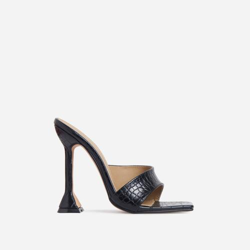 Luv Cross Strap Square Peep Toe Sculptured Heel Mule In Black Croc Print Faux Leather