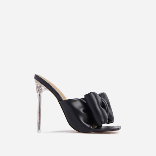 Royal Oversized Bow Detail Square Peep Toe Clear Perspex Heel Mule In Black Faux Leather