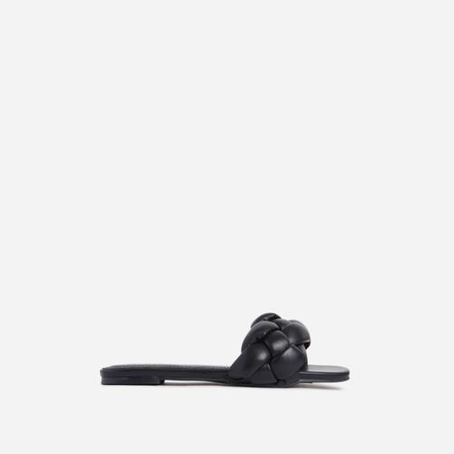 Charlie Braided Flat Slider Sandal in Black Faux Leather