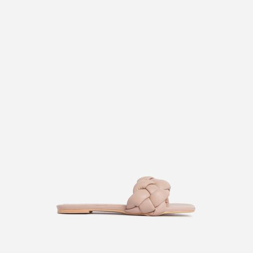 Charlie Braided Flat Slider Sandal in Nude Faux Leather