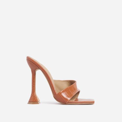 Luv Cross Strap Square Peep Toe Sculptured Heel Mule In Tan Brown Croc Print Faux Leather