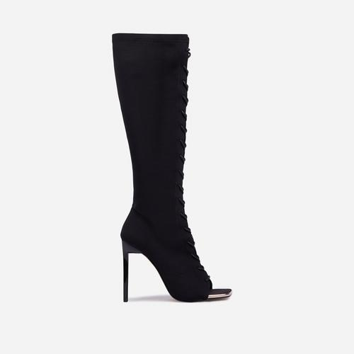 Embers Lace Up Square Peep Toe Knee High Ankle Sock Boot In Black Knit