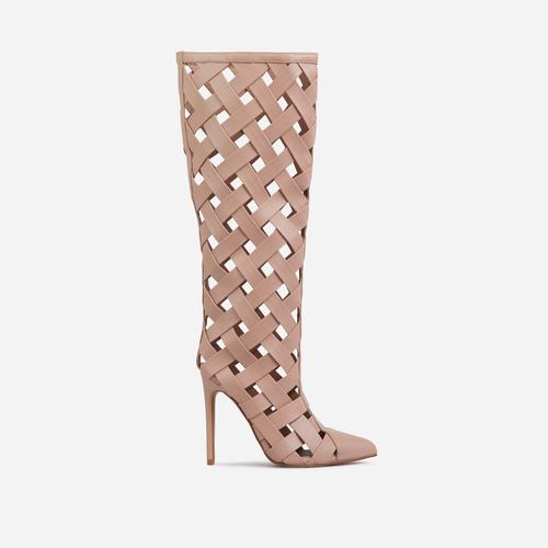 Trace Woven Detail Caged Pointed Toe Heel Knee High Ankle Boot In Nude Faux Leather