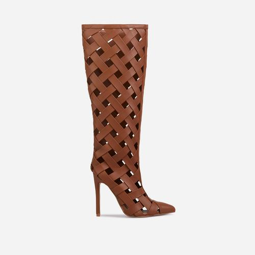 Trace Woven Detail Caged Pointed Toe Heel Knee High Ankle Boot In Tan Brown Faux Leather