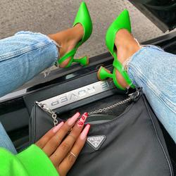 Dazy Sling Back Pyramid Heel Mule In Green Faux Leather