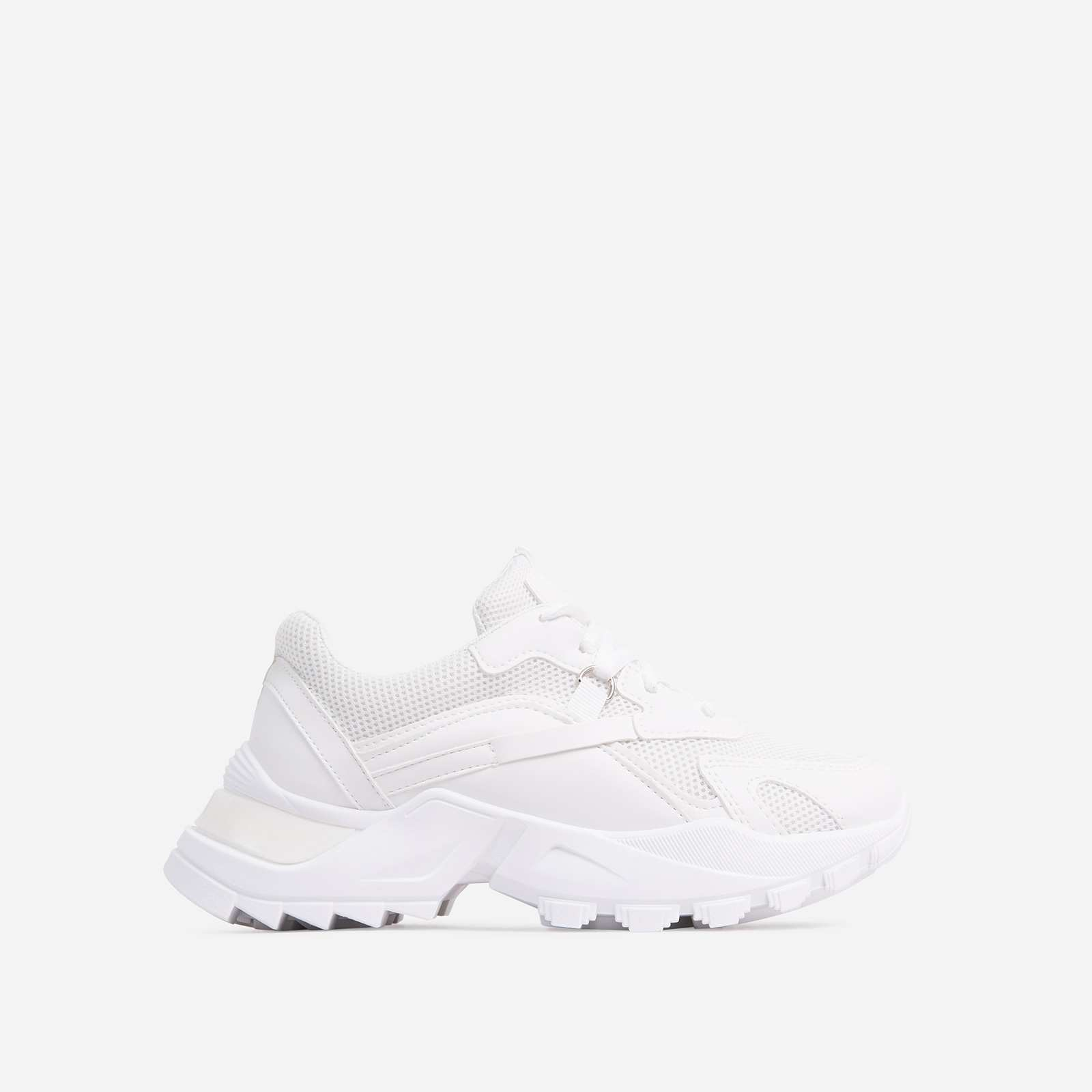 Thunder Lace Up Mesh Chunky Sole Trainer In White