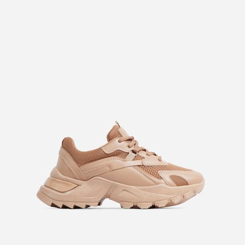 Thunder Lace Up Mesh Chunky Sole Trainer In Tan Brown