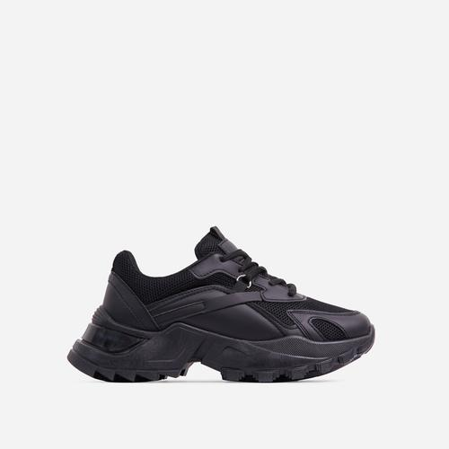 Thunder Lace Up Mesh Chunky Sole Trainer In Black