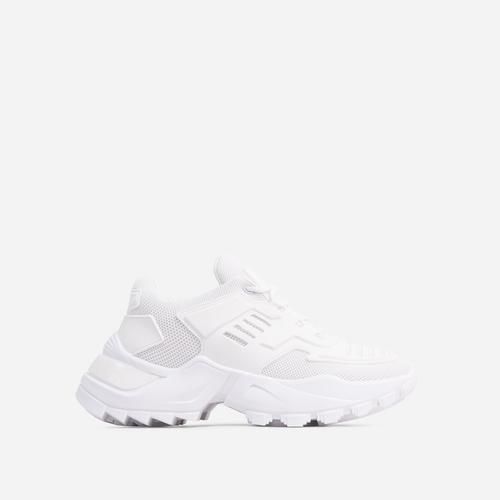 Clout Caged Lace Up Chunky Sole Trainer In White