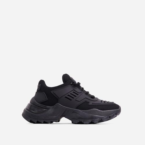 Clout Caged Lace Up Chunky Sole Trainer In Black