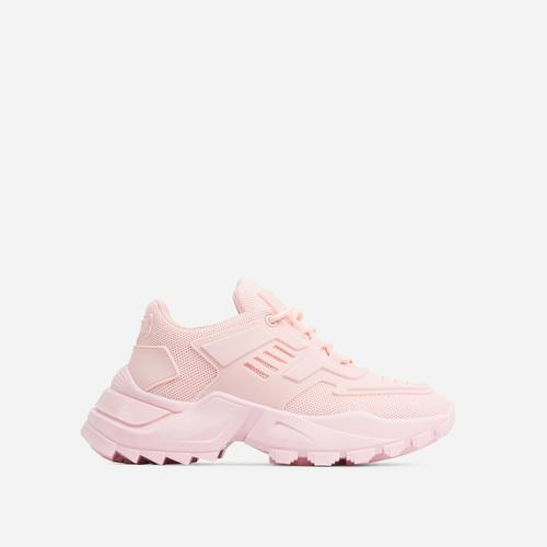 Clout Caged Lace Up Chunky Sole Trainer In Pink