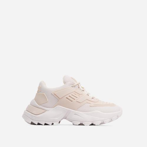 Clout Caged Lace Up Chunky Sole Trainer In Nude