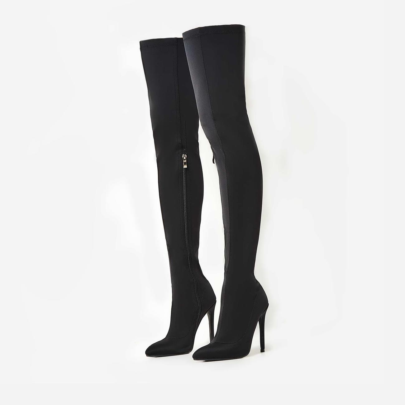 Alabama Pointed Toe Over The Knee Thigh High Long Sock Boot In Black Lycra Image 3