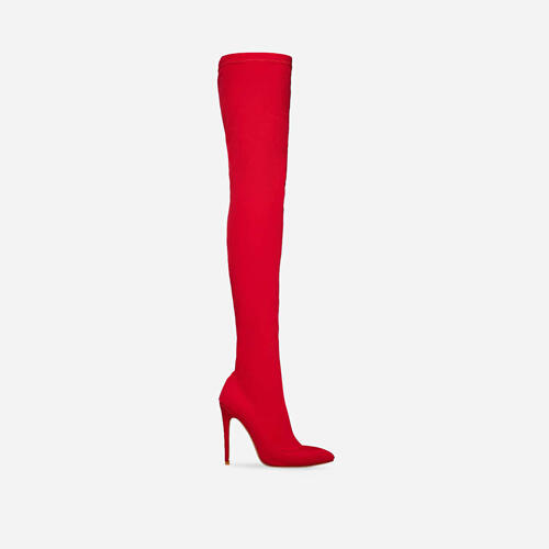 Alabama Pointed Toe Long Boot In Red Lycra Image 1