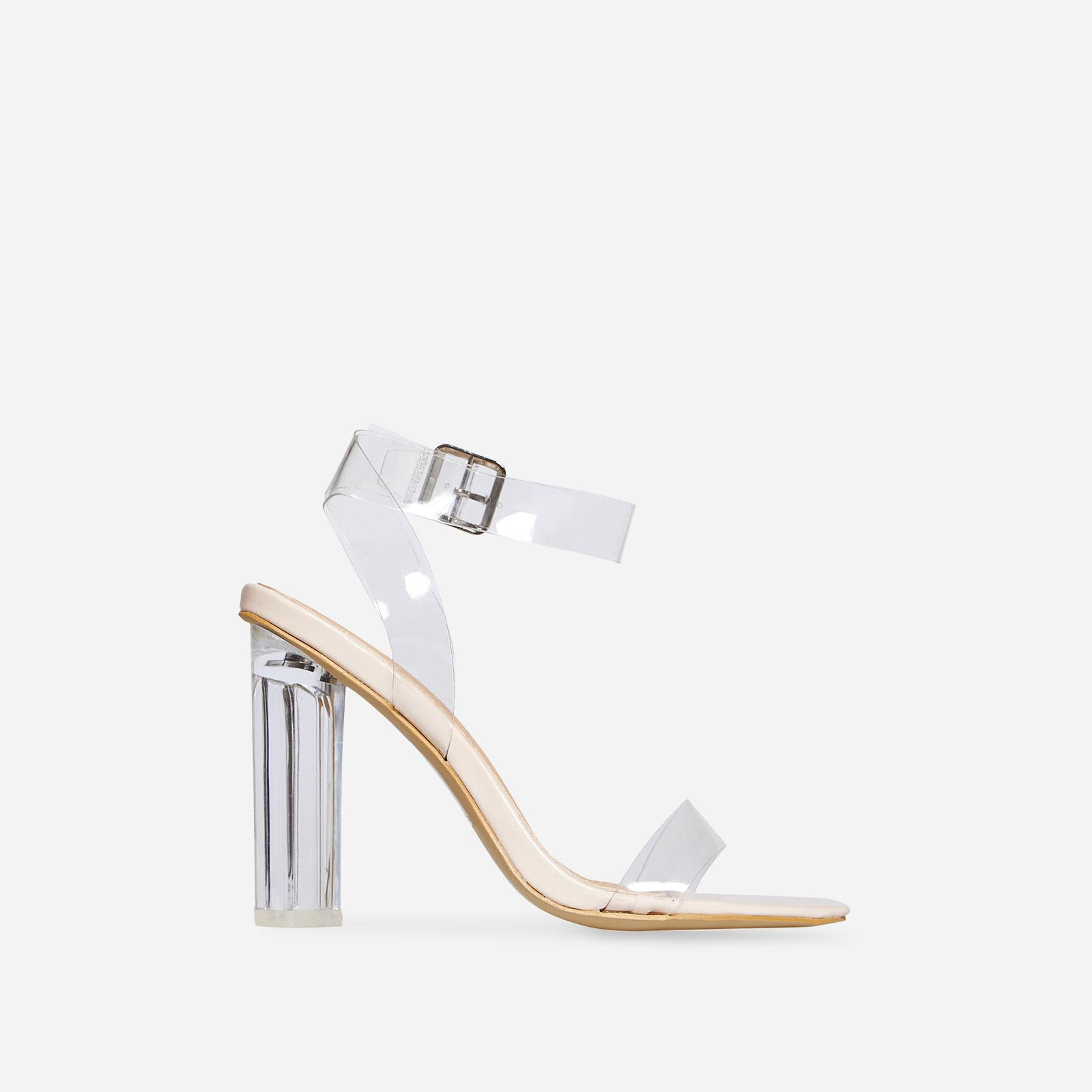 Ariana Barely There Perspex Block Clear Heel In Nude Patent, Nude