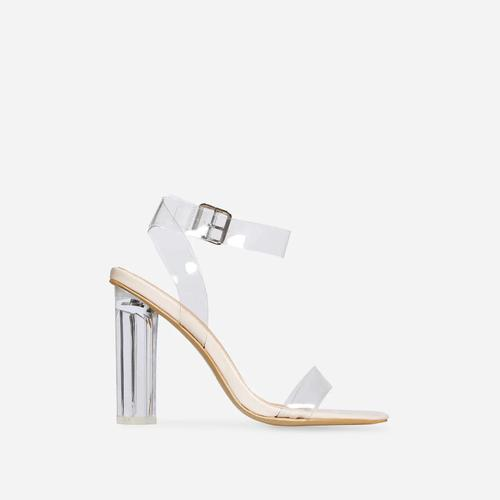 Ariana Wide Fit Barely There Perspex Block Clear Heel In Nude Patent