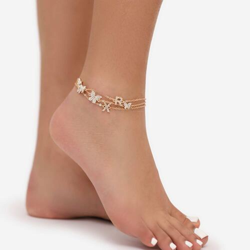 Multi Butterfly Detail Delicate Anklet In Gold