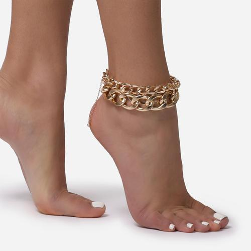 Chunky Multi Chain Anklet In Gold