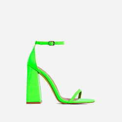 Atomic Square Block Heel In Neon Green Patent