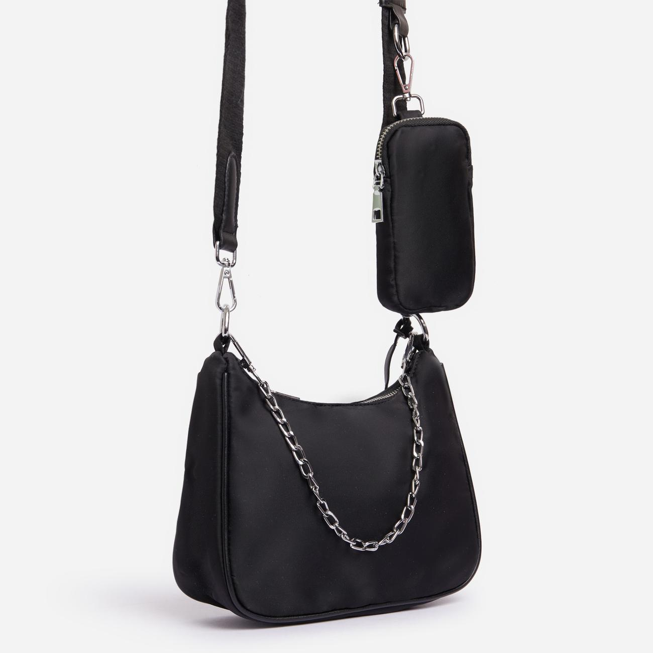 Melody Purse Detail Cross Body Bag In Black Nylon Image 1